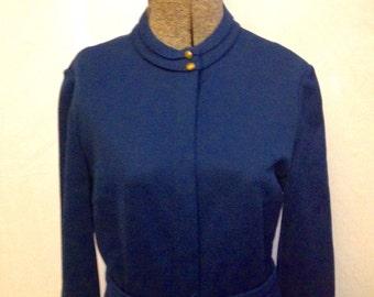 CLOSING SHOP Vintage 60s Dalton teal wool secretary dress SZ 12