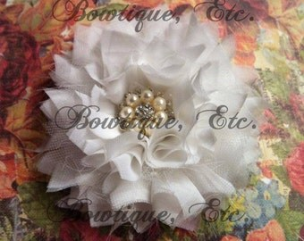 Chiffon, Tulle and Bling Flower Barrette