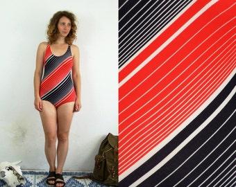 70's vintage women's red-black striped one piece swimwear/swimsuit