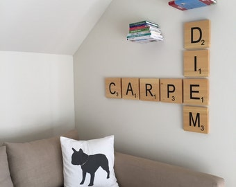 "Large Hand Painted Scrabble Tiles  ""Carpe Diem"""
