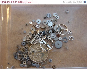 Vintage Antique Tiny metal gears / Steampunk Gears / Altered Art Industrial Mixed Media Assemblage / Watch Gears / Watch parts WW8b