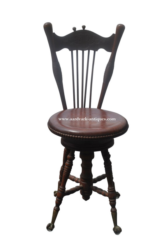Antique Piano Stool With Claw Feet