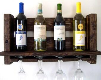 Rustic Wine Rack Wine Glasses Wine Bottles Wood Wine Rack Dark Walnut