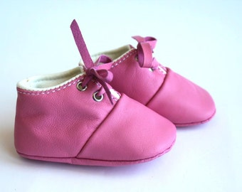 6-12 Months Slippers / Baby Shoes Lamb Leather pink