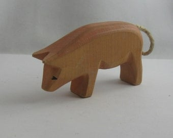 PIG wooden figur / wood animal / wooden toy. Engelberger wooden toys. From Germany. VINTAGE