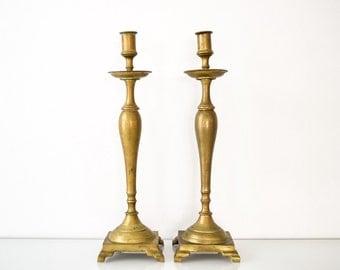 """brass candlesticks, antique candlesticks, brass candleholders, beautiful antique English Victorian tall 19"""" candlestick holders, solid brass"""
