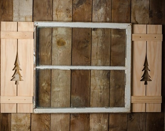 Pine Tree Exterior Shutter made of Pine or Red Cedar Wood