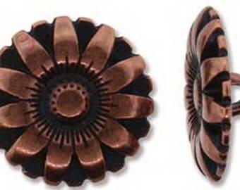 Antique Copper 17mm FLOWER BUTTON