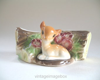 Hornsea Pottery vase Baby Deer by Log, small posy trough, vintage home decor ornament, c1960s