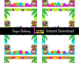 Luau Food Labels- INSTANTLY Downloadable and Editable File - Personalize at home with Adobe Reader or PicMonkey.com - Luau Party Supplies