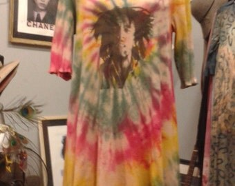 Bob Marley Red, Yellow, and Green Tie-Dyed Floppy Dress