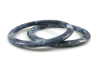 Set of Two Fun Marbled Blue Resin Bangle Bracelets