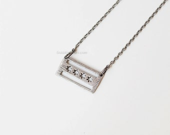 Chicago flag necklace in antique silver, Chicago necklace, dainty chicago flag necklace, chicago souvenir, chicago love, remember chicago