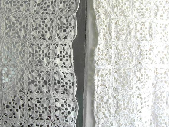 2 white cotton crochet curtains 2 crochet rectangles
