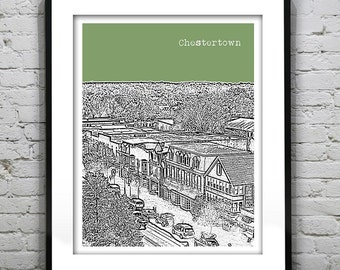 1 Day Only Sale 10% Off - Chestertown Skyline Print Print Maryland MD Version 1