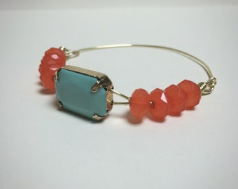 Blue & Coral Wire Wrapped Bracelet/Bangle