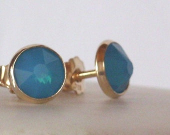 Delicate opal earrings - bezel earrings - Opal crystal stud earrings -  vermeil -  vintage - Bridesmaid- statement