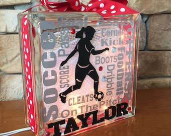 Soccer Girl Typography GemLight, Personalized