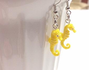 Seahorse earrings, yellow seahorse, ocean jewelry