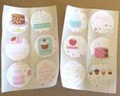 Stickers, Dessert Stickers, Sweet Stickers, Bakery Stickers, Handmade Stickers, Sweet Treat Stickers, Scrapbooking, Envelope Sticker