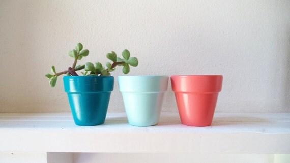 """Mini planters, 2"""" succulent pots, wedding favor planters, modern nautical colors"""