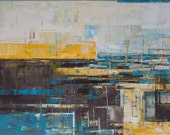 Abstract painting, brown, grey and yellow, modern, minimalist large canvas art 39.37/27.5(100/70cm). Free shipping. Port XXI.