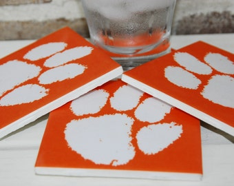 Set of 4 Tile Coasters-Clemson Paw