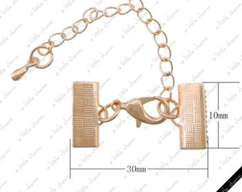 Rose Gold Brass Ribbon Crimp, Lobster Claw Clasp and Extension Chain + Drop