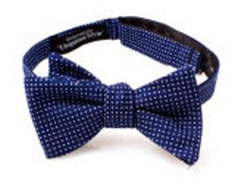 Navy Blue and White Polka Dot Self Tie Bow Tie