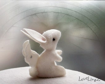 Guardian angel bunny, enchanted forest  fairy rabbit, felt art plushie - Made To Order
