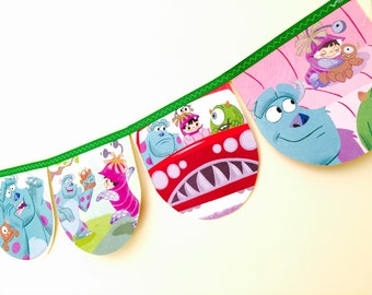 MONSTERS INC Bunting Banner - Childrens Room Decor Nursery Book Garland Banner Party Story Book