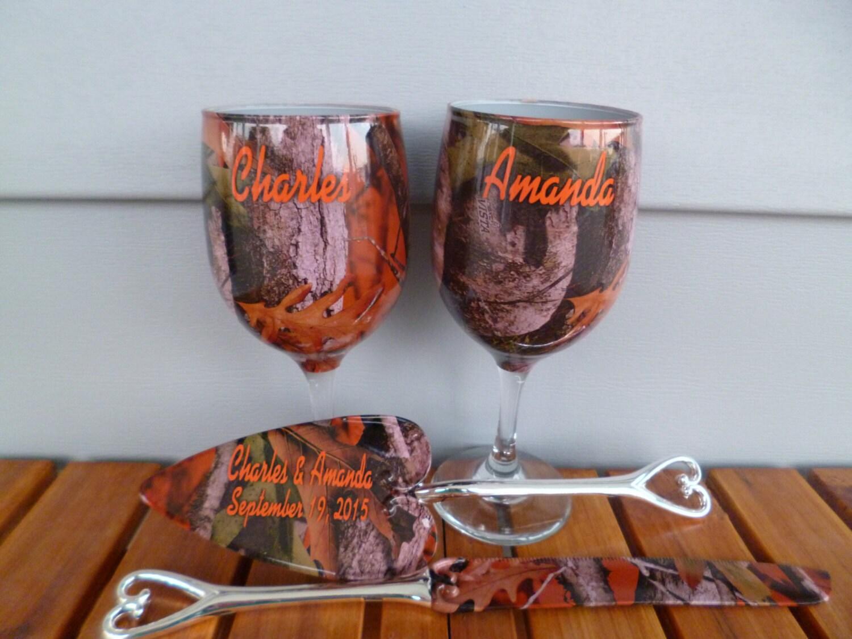 Orange camo rustic wedding wine glasses and wedding serving