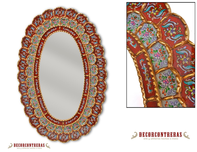 Espejo decorativo oval estilo cuzco flor de la - Espejos coloniales ...