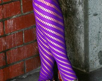 Purple Hand Dyed Diagonal Striped Nylon Tights Pantyhose