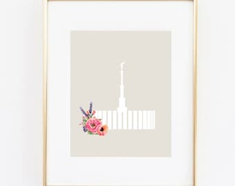 provo utah lds temple floral silhouette 8x10 art instant download