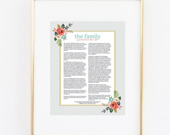family proclamation 11x14 art print instant download