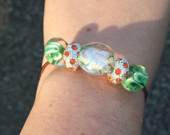 Wire Wrapped Copper Bracelet with Green and Orange Beads