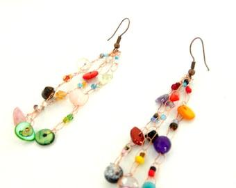 Multi color earrings. Multi colored copper earrings. Crochet wire jewelry. French handmade by Dekalyna.Copper wire earrings