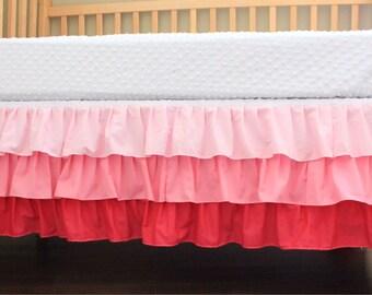 Pink Three Tier Ruffle Crib Skirt, Pink Ruffles, Baby Girl Crib Skirt, Made To Order