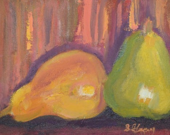 original oil painting, pears, 6x8, unframed