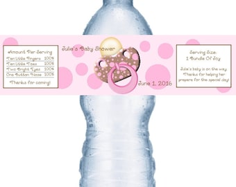 49 Pink Baby Shower Water Bottle Labels