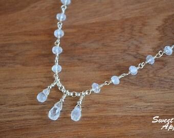 Moonstone Drop Choker Necklace