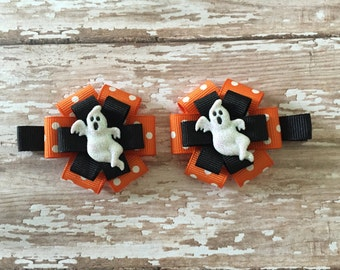 Set of Ghost Hair Clips-Set of Glitter Ghost Halloween Bows-Ghost Bows-Halloween Bows-Set of Halloween Ghost Bows-Halloween Hair Clips