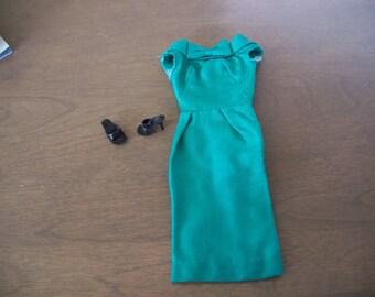 Vintage 1960's Barbie Green Silk Sheath Dress