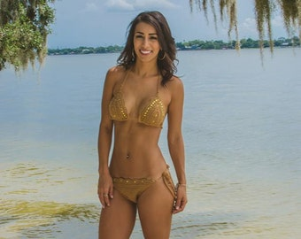 Crochet Scallop Bikini-Custom Colors with or without Sequins