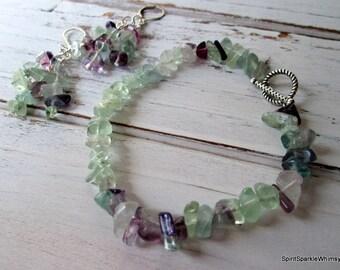 Fluorite Bracelet and Earring Set