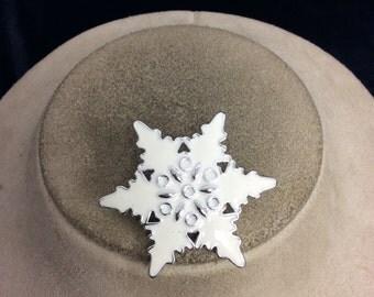 Vintage White Enameled Snowflake Pin