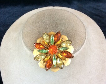 Vintage 3-D Multi Colored Rhinestone Floral Pin