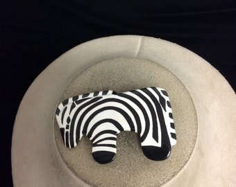 Vintage Wooden Hand Painted Zebra Pin
