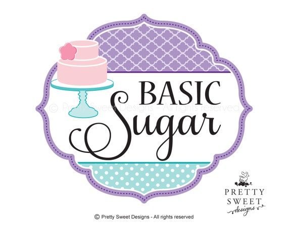Cake Company Logo Design : Items similar to Cake Logo Design, Purple logo, Pink Cake ...